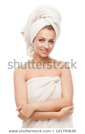Beautiful Girl Wearing Towel On Her Head Stok fotoğraf © Svetography