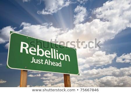 революция впереди Billboard зеленый солнце Сток-фото © tashatuvango