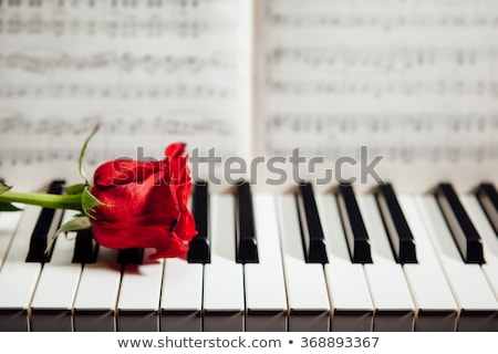 piano keys and musical book and flower stock photo © mizar_21984