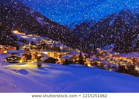 Stockfoto: Winter · landschap · dorp · wolken · sneeuw · bomen