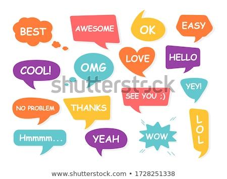colorful icons with speech balloons Stock photo © burakowski