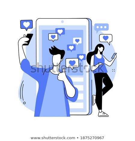 Auto-estima azul projeto branco botão estilo Foto stock © tashatuvango