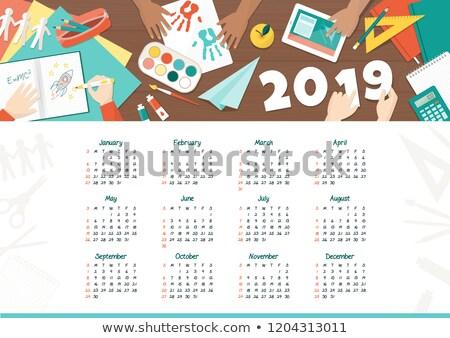 случае исследование Desktop календаря красный текста Сток-фото © tashatuvango