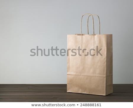Empty bag brown wooden background. Stock photo © justinb