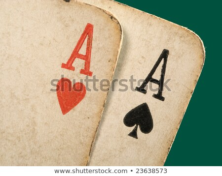 Stock photo: 2 Old Dirty Aces Poker Cards Close Up