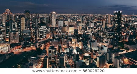 Oszaka · sziluett · éjszaka · város · Japán · üzlet - stock fotó © cozyta