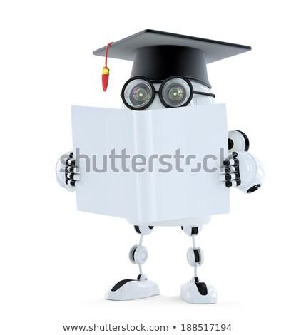 Robot vrijgezel boek technologie gerenderd Blauw Stockfoto © Kirill_M