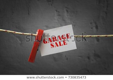 Stockfoto: Garage · verkoop · teken · opknoping · kleding · touw