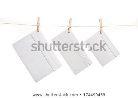 Сток-фото: три · конверт · одежды · веревку · почты · подвесной
