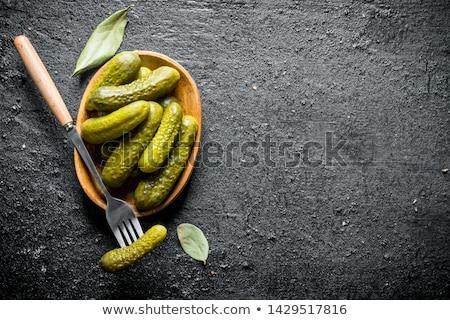glas · bewaard · komkommers · witte · voedsel · kan - stockfoto © eh-point