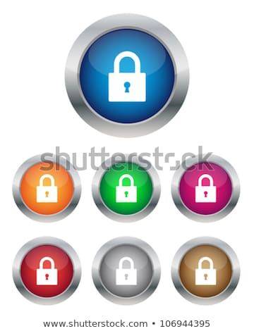 Chiuso lock icona vetro pulsante set Foto d'archivio © aliaksandra