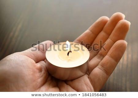 Gyertya fehér izolált tűz fény születésnap Stock fotó © tilo
