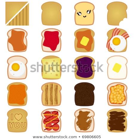 Biały toast ser salami ikona wektora Zdjęcia stock © aliaksandra