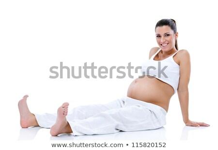 беременная · женщина · расслабляющая · полу · большой · мяча - Сток-фото © ilona75