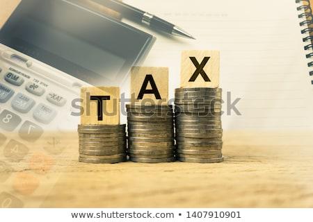 impôt · rouge · blanche · argent · financière - photo stock © chrisdorney