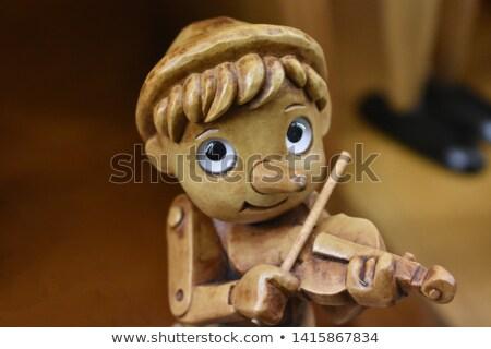 Brinquedo de madeira violino notas papel madeira brinquedo Foto stock © Valeriy