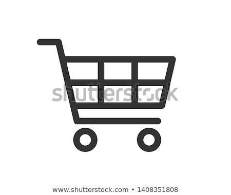 Stockfoto: Lege · supermarkt · winkelwagen · eenvoudige · icon · witte