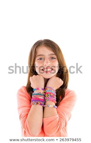gumi · szőke · gyerek · lány · mosolyog · nyitva - stock fotó © lunamarina