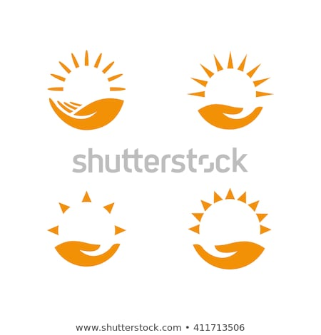 logo of hands sunset vector illustration stock photo © popaukropa