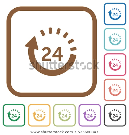 24 Hours Services Square Vector Orange Icon Design Set Stock photo © rizwanali3d