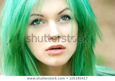 奇妙な · ピンク · 髪 · 少女 · 白 · 女性 - ストックフォト © fanfo