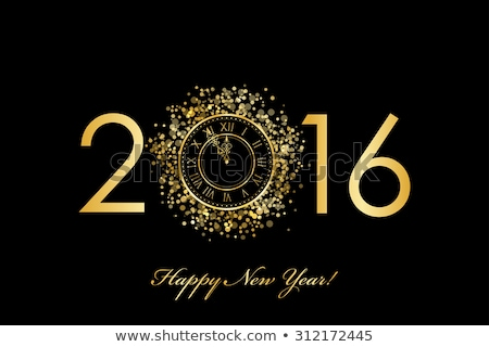 New 2016 year card with golden clock, vector illustration Stock photo © carodi