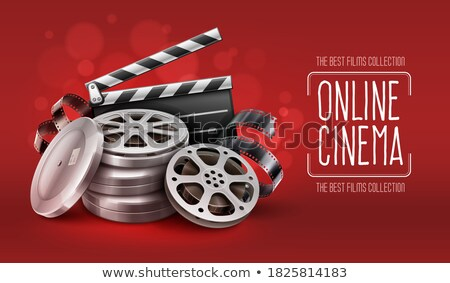 Online cinema with movie tape disks in boxes and directors clapper for filmmaking Stock photo © LoopAll