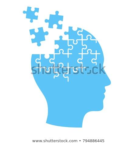 lógica · azul · rompecabezas · blanco · pensando · pensar - foto stock © ivelin