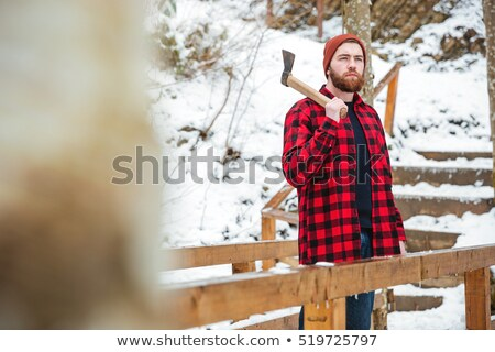 thoughtful man with beard holding axe at mountains in winter stock photo © deandrobot