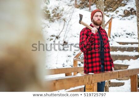 Hombre barba hacha montanas Foto stock © deandrobot
