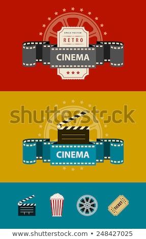 Mozi vízszintes bannerek szett színes üdvözlet Stock fotó © Genestro