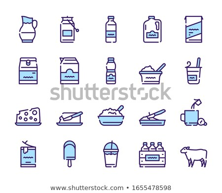 lácteo · línea · icono · vector · aislado · blanco - foto stock © rastudio