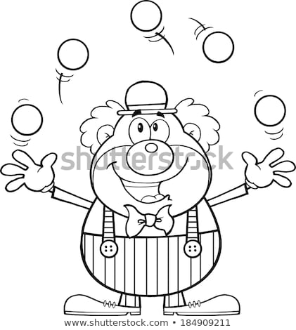 A Drawing Of A Clown Juggling Stok fotoğraf © HitToon