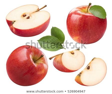 красное · яблоко · квартал · зеленый · лист · изолированный · белый · лист - Сток-фото © serg64