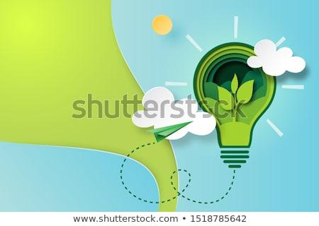 écologie pense vert icônes Photo stock © ConceptCafe