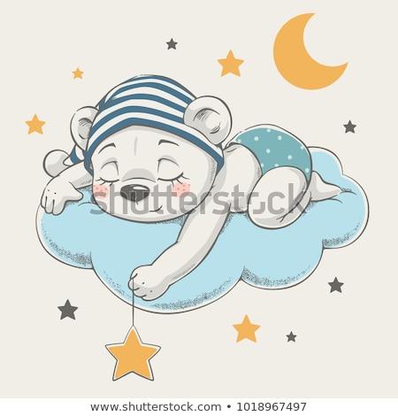 baby girl shower card with little teddy bear stock photo © balasoiu