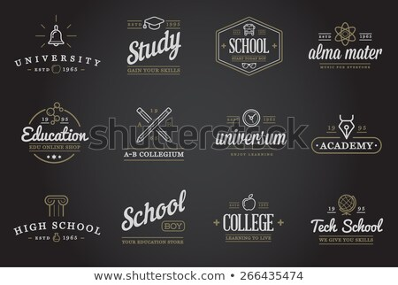 Vector icon of crossed pencil and pen Stock photo © adrian_n