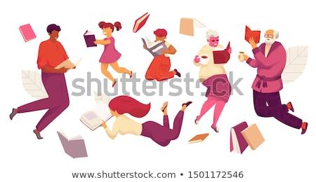 Vrouwen lezing witte gezicht ontwerp achtergrond Stockfoto © bluering