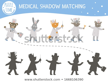 Kids puzzle - match the shadow to the doctor Stock photo © adrian_n