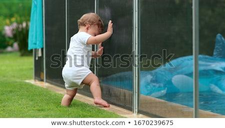 Biztonság gyerekek medence gyermek fém nyár Stock fotó © pixinoo