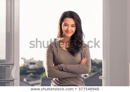faccia · bella · asian · donna · anello - foto d'archivio © dolgachov
