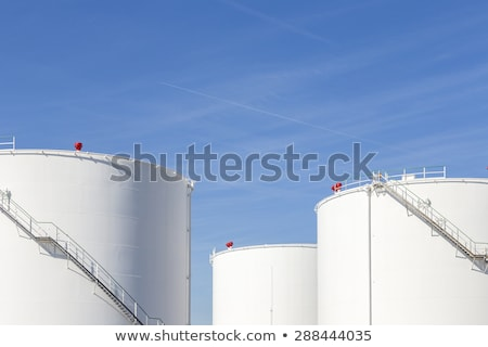 Beyaz tank çiftlik demir merdiven mavi gökyüzü Stok fotoğraf © meinzahn
