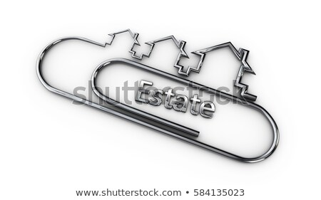 silver 3d modern design logo with estate word 3d illustration Stock photo © tussik