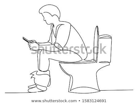 Funny image of an adult guy sitting on lavatory Stock photo © majdansky