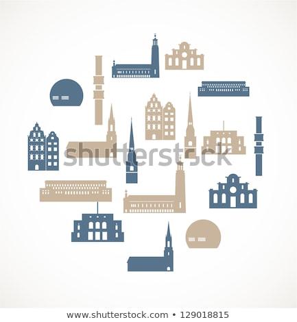 öreg · épületek · Stockholm · Svédország · gyönyörű · óváros - stock fotó © Estea