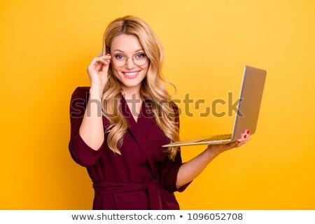 молодые · блондинка · деловая · женщина · очки · глядя - Сток-фото © mmarcol