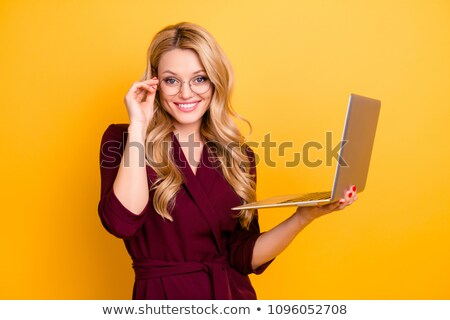 Jeunes femme d'affaires verres regarder Photo stock © mmarcol
