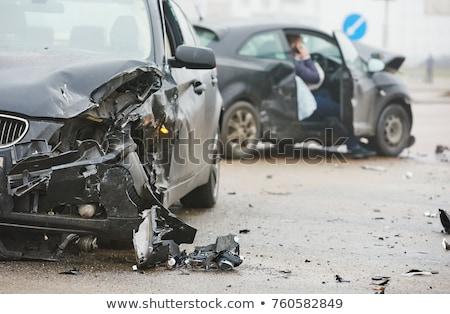 Samochodu wypadku podpisania ilustracja drogowego transportu Zdjęcia stock © adrenalina