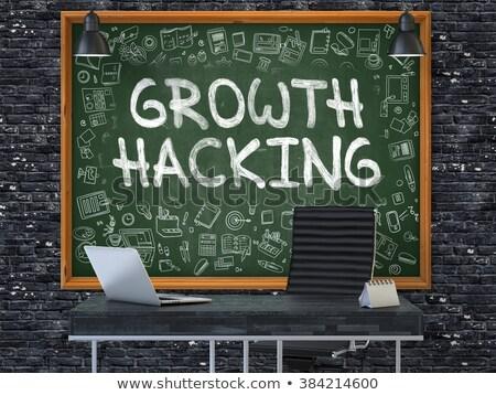 Groene schoolbord groei hacking doodle Stockfoto © tashatuvango
