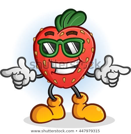 cartoon strawberry fruit mascot character stock photo © krisdog